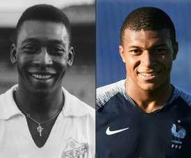 Pelé et Mbappé. AFP