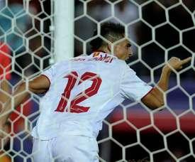 Le buteur du Séville FC Wissam Ben Yedder, lors de la victoire sur l'OL en Ligue des champions. AFP