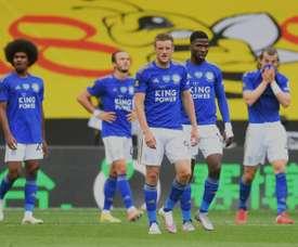 Jamie Vardy marcou dois gols contra o Crystal Palace. AFP