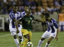 Florent Malouda avec la sélection de la Guyane face au Honduras lors de la Gold Cup. AFP
