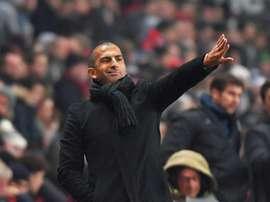 Le nouvel entraîneur de Rennes Sabri Lamouchi replace ses joueurs opposés à Amiens. AFP