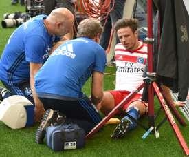Nicolai Müller celebró un tanto con tanta efusividad que se rompió el ligamento cruzado. AFP