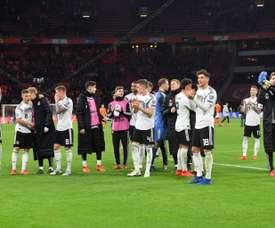 Les joueurs de lAllemagne fêtent leur victoire face aux Pays-Bas. AFP