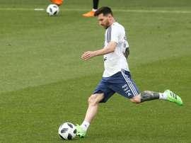 L'attaquant argentin Lionel Messi à lentraînement à Sant Joan Despi. AFP