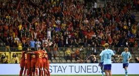 La joie des Belges après louverture du score. AFP