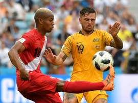 Peru inflicted a 2-0 defeat on the Socceroos. AFP