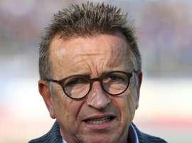 Norbert Meier, alors entraîneur de Darmstadt 98 avant le match face à RB Leipzig. AFP