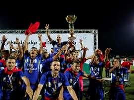 Les joueurs de Chabab Rafah, vainqueurs de la la Coupe de Palestine, le 4 août 2017 à Dura. AFP