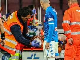 David Ospina, blessé à la tête lors dun choc avec un attaquant d'Udinese. AFP