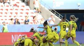Les Suédoises après leur victoire face aux Anglaises à Lyon. AFP