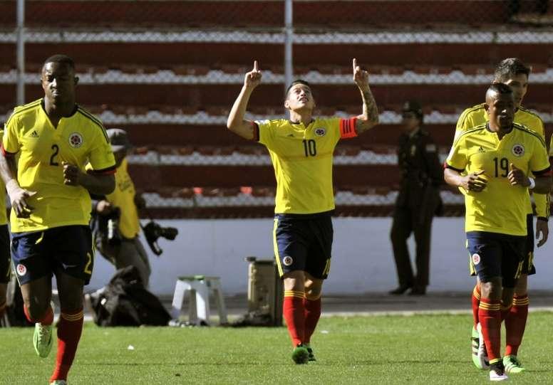 La star de la Colombie James Rodriguez, buteur contre la Bolivie à La Paz, le 24 mars 2016. AFP