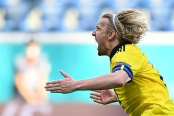 Um gol de pênalti para fazer a Suécia sonhar. AFP