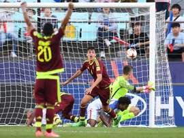 Le défenseur vénézuélien Nahuel Ferraresi buteur en prolongation face aux Etats-Unis. AFP