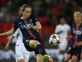 Delannoy avec le PSG en demi-finale de Ligue des champions contre Lyon au Parc des Princes. AFP