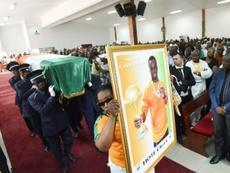 Le cercueil de Cheick Tioté lors de ses obsèques, le 18 juin 2017 à Abidjan. AFP
