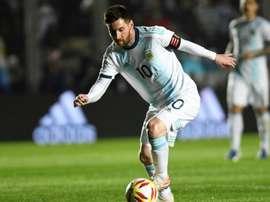 Le capitaine argentin Lionel Messi contre le Nicaragua en match amical. AFP