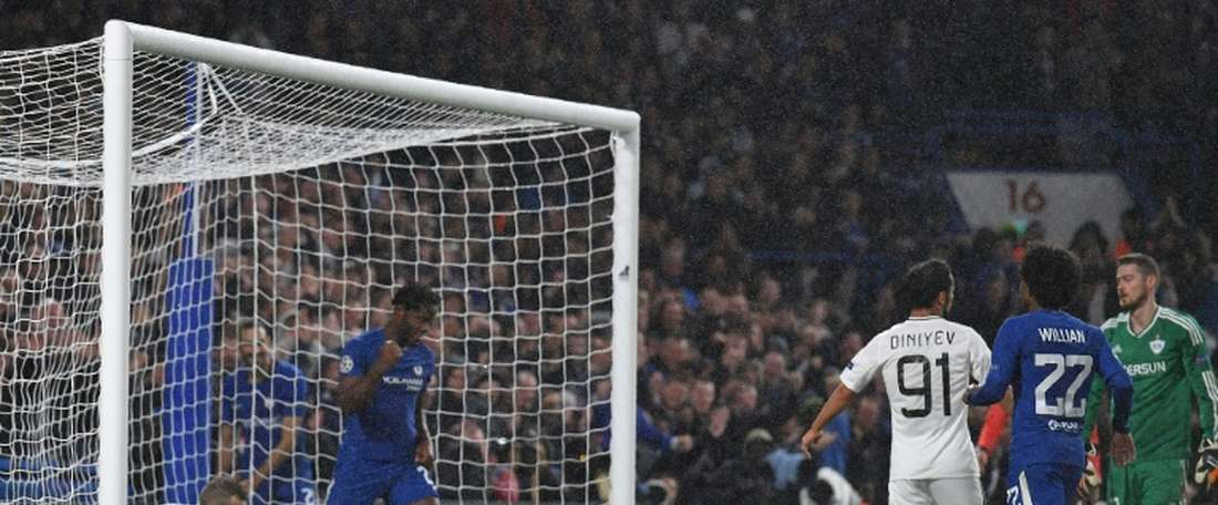 Michy Batshuayi started and scored for Chelsea at Stamford Bridge. AFP