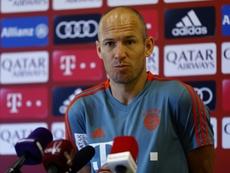 Arjen Robben en conférence de presse. AFP