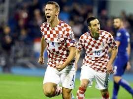 Le Croate Ivan Perisic après un but contre la Grèce en barrage aller pour le Mondial. AFP