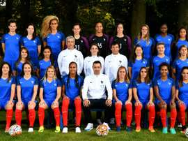 Léquipe de France féminine, lentraîneur Olivier Echouafni et son encadrement, le 18 octobre 2016 à Clairefontaine