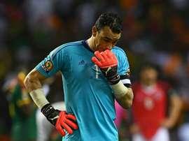 Le gardien de but égyptien Essam El-Hadary après la défaite en finale de la CAN. AFP