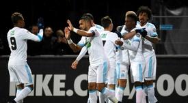 Luiz Gustavo Dias, heureux après avoir marqué contre Bourg-en-Bresse. AFP