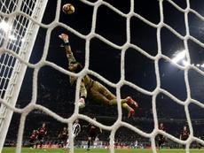 La parade du jeune gardien de l'AC Milan Donnarumma en toute fin de match face à la Juventus. AFP