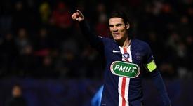 L'attaquant du PSG Edinson Cavani buteur contre Linas-Montlhéry en Coupe de France au stade de Bondoufle, le 5 janvier 2020