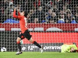 Le Colombien Quintero, prêté par Porto, après avoir marqué un but pour Rennes au Roazhon Park. AFP