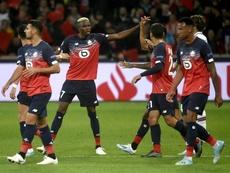 Victor Osimhen (c) buteur contre Chelsea en Ligue des champions. AFP