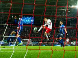Timo Werner inscrit un but pour le RB Leipzig contre le FC Schalke 04 à la Red Bull Arena. AFP