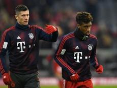 Robert Lewandowski et Kingsley Coman lors d'un échauffement avant un match contre Leipzig. AFP