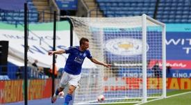 Vardy hace historia en el Leicester City. AFP