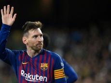 Lionel Messi auteur dun triplé lors de la victoire 4-1 sur le Betis Séville. AFP