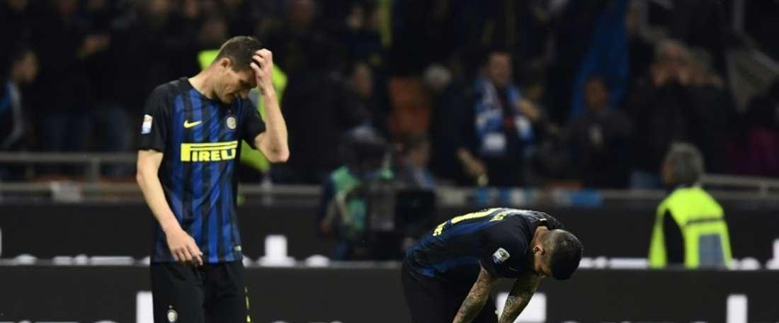 Les joueurs de lInter Milan après le match contre Napoli à San Siro, le 30 avril 2017. AFP