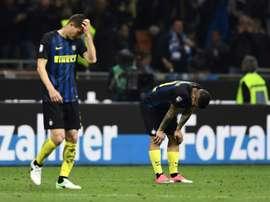 Les joueurs de l'Inter Milan après le match contre Napoli à San Siro, le 30 avril 2017. AFP