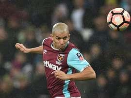 Le milieu Sofiane Feghouli, alors à West Ham, contre Manchester City, en Coupe d'Angleterre. AFP