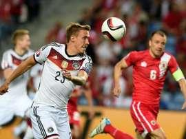 Max Kruse lors du match Gibraltar-Allemagne, le 13 juin 2015 à Faro
