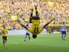 Aubameyang voltou a marcar em novo triunfo do Borussia na liga alemã. AFP