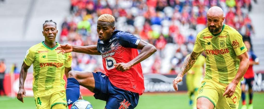 Victor Osimhen auteur d'un doublé face à Nantes en L1 au stade Pierre-Mauroy. AFP