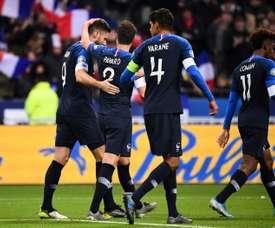 Meilleurs buteurs des Bleus: Giroud à deux buts de Platini. AFP