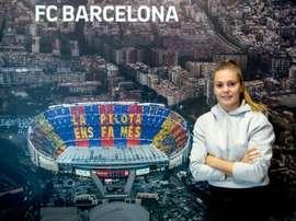 Lieke Martens lors dun interview à l'AFP au centre dentraînemnt du club catalan. AFP