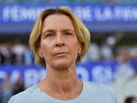 Martina Voss-Tecklenburg suit le match contre lAfrique du Sud au Mondial-2019. AFP