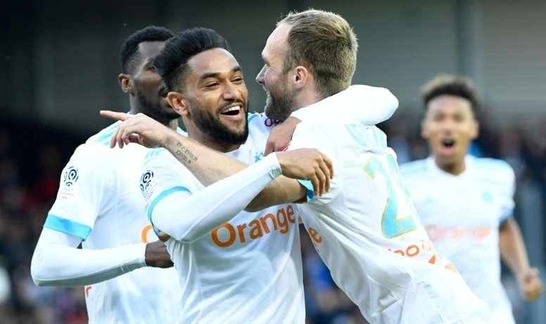 El Olympique de Marsella empató a tres frente al Guingamp. AFP