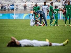 Léquipe du Nigeria victorieuse du Honduras pour la médaille de bronze des Jeux de Rio, le 20 août 2016 à Belo Horizonte