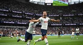 Harry Kane marque son troisième but de la saison. AFP