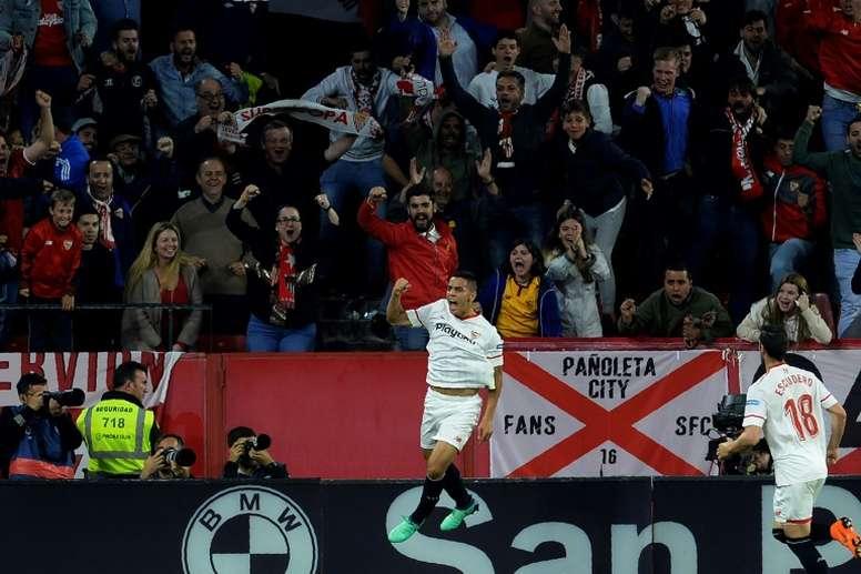 Wissam Ben Yedder buteur pour Séville face au Real Madrid. AFP