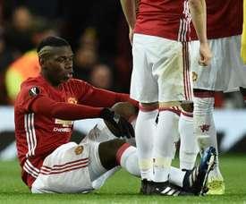 Paul Pogba blessé avec Manchester United contre le FC Rostov en Europa League. AFP