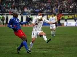Enis Alushi lors du match amical Kosovo-Haïti, le 5 mars 2014 à Mitrovica. AFP