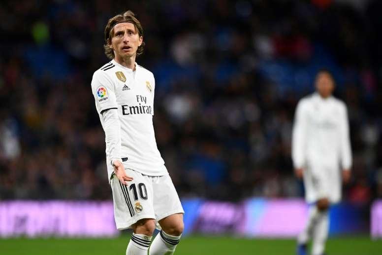 Le joueur du Real Madrid Luka Modric lors de la défaite face à la Real Sociedad. AFP